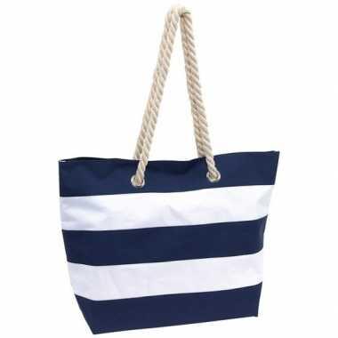 Blauw/witte polyester strandtas gestreept met klittenband 47 cm prijs