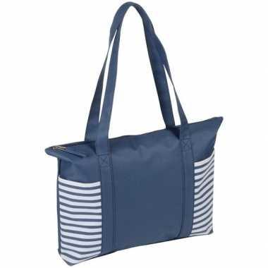 Blauw/witte polyester strandtas met streepmotief en rits 44 cm prijs