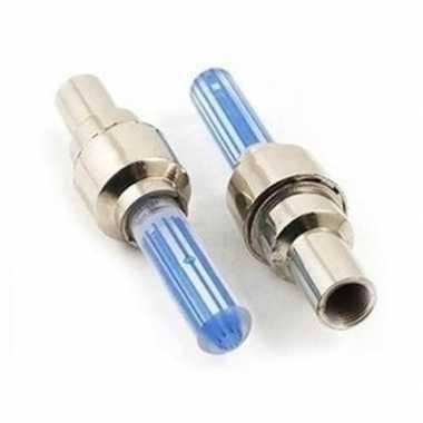 Blauwe fietslampjes set voor fietsventiel 2 stuks prijs
