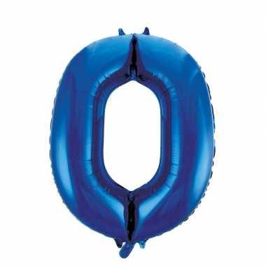 Blauwe leeftijden ballon cijfer nul 86 cm prijs