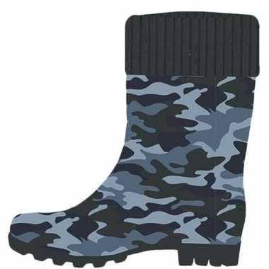 Blauwe legerprint/camouflageprint kleuter regenlaarzen voor jongens/m