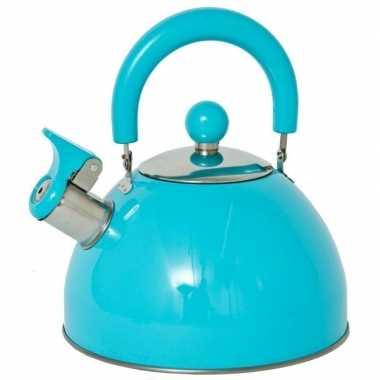 Blauwe ouderwetse fluitketel 2,5 liter prijs