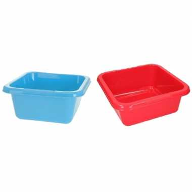 Blauwe / rode vierkante afwasbak 15 l prijs