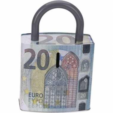 Blauwe spaarpot 20 euro biljet slotvorm 25 cm prijs