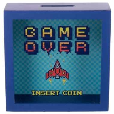Blauwe spaarpot met raam game over insert coin 18x18 cm prijs