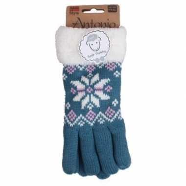 Blauwe winterhandschoenen nordic voor dames prijs