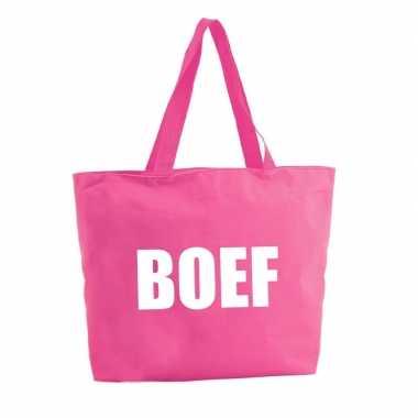 Boef boodschappentas / strandtas fuchsia roze 47 cm prijs