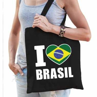 Brazilie schoudertas i love brasil zwart katoen prijs