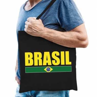 Brazilie supporter schoudertas brasil zwart katoen prijs
