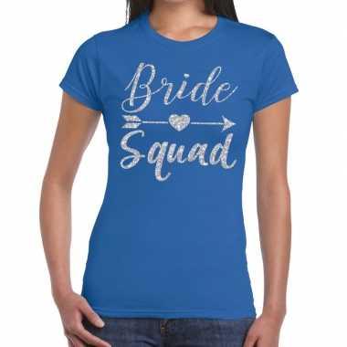 Bride squad zilveren letters fun t-shirt blauw voor dames prijs