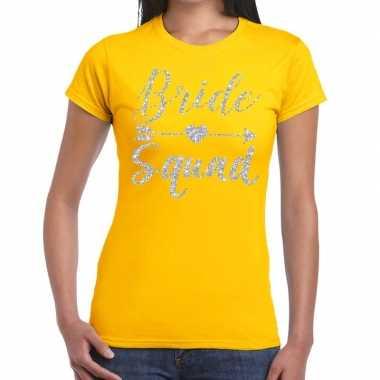 Bride squad zilveren letters fun t-shirt geel voor dames prijs