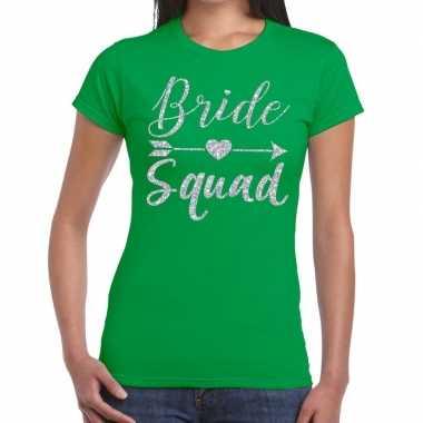 Bride squad zilveren letters fun t-shirt groen voor dames prijs