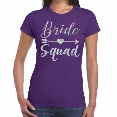 Bride squad zilveren letters fun t-shirt paars voor dames prijs