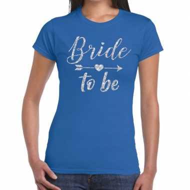 Bride to be zilveren letters fun t-shirt blauw voor dames prijs