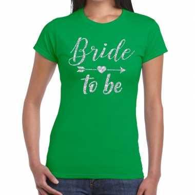 Bride to be zilveren letters fun t-shirt groen voor dames prijs