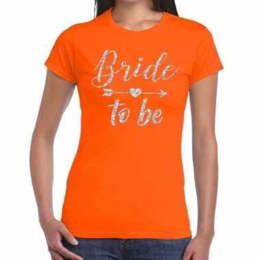 Bride to be zilveren letters fun t-shirt oranje voor dames prijs