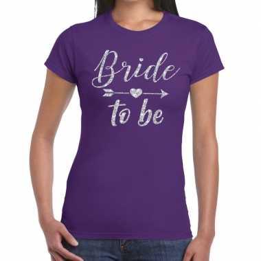 Bride to be zilveren letters fun t-shirt paars voor dames prijs