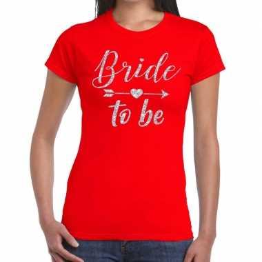 Bride to be zilveren letters fun t-shirt rood voor dames prijs