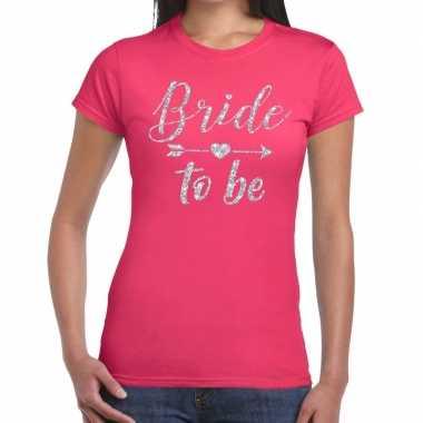 Bride to be zilveren letters fun t-shirt roze voor dames prijs