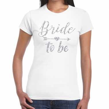 Bride to be zilveren letters fun t-shirt wit voor dames prijs