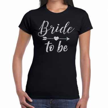 Bride to be zilveren letters fun t-shirt zwart voor dames prijs