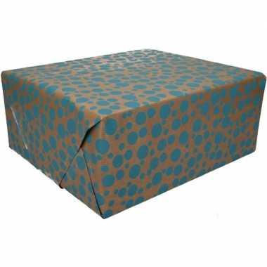 Bruin cadeaupapier blauwe stippen print 70 x 200 cm prijs