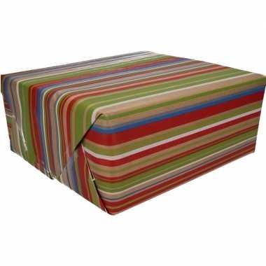Bruin cadeaupapier gekleurde strepen print 70 x 200 cm prijs