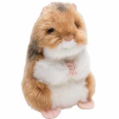 Bruin/witte hamster knaagdieren knuffels 13 cm knuffeldieren prijs