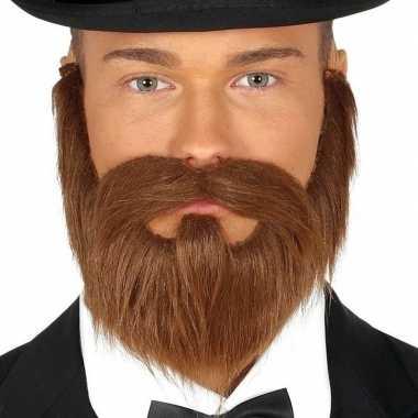 Bruine baard met sik en snor voor heren prijs