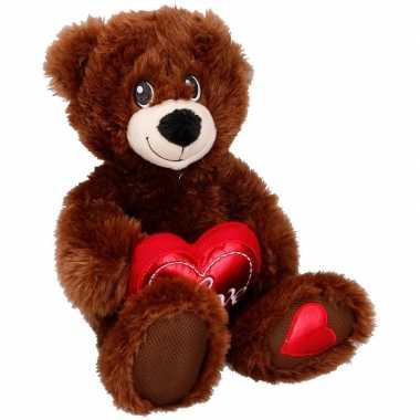 Bruine knuffelberen knuffels met hartje 33 cm knuffeldieren prijs