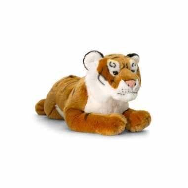 Bruine pluche liggende tijger 46cm prijs