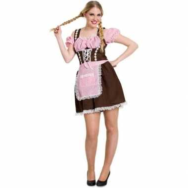Bruine/roze bierfeest/oktoberfest jurkje verkleedkleding voor dames p