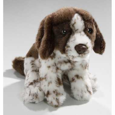 Bruine/witte engelse pointer honden knuffels 17 cm knuffeldieren prij