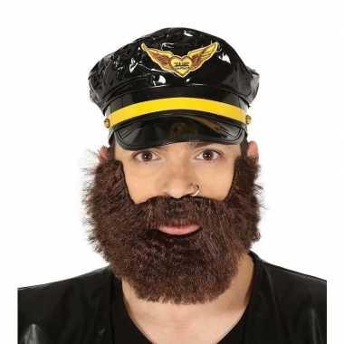 Bruine zeemansbaard met snor voor heren prijs