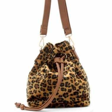 Bruine/zwarte luipaardprint schoudertas/cross body tas/bucket bag 30