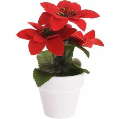 Budget kunstplanten rode kerststerren met pot 16 cm prijs