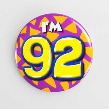 Button i'm 92 in vrolijke kleuren prijs