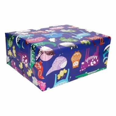 Cadeaupapier blauw met diertjes 200 cm prijs