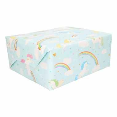 Cadeaupapier lichtblauw met regenbogen 200 cm prijs