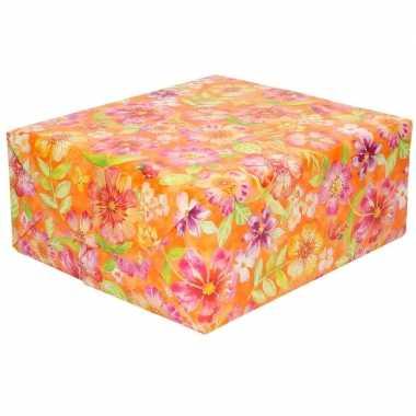 Cadeaupapier oranje met roze bloemen 70 x 200 cm prijs