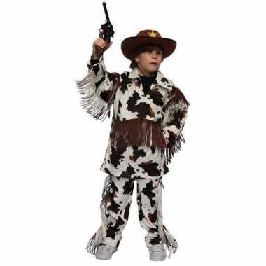 Carnaval cowboy pak met koeienprint voor kinderen prijs