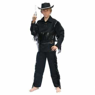 Carnaval cowboy pak zwart voor kinderen prijs