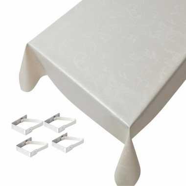 Champagne tafelkleden/tafelzeilen ruiten print 140 x 170 cm rechthoek