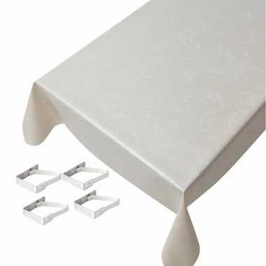 Champagne tafelkleden/tafelzeilen ruiten print 140 x 245 cm rechthoek