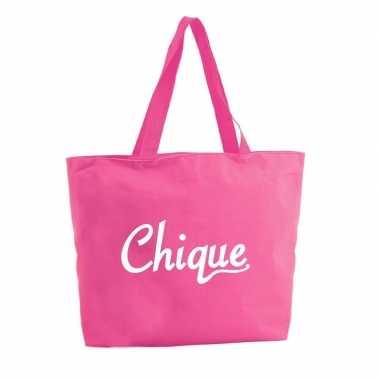 Chique boodschappentas / strandtas fuchsia roze 47 cm prijs
