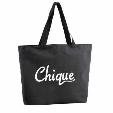Chique boodschappentas / strandtas zwart 47 cm prijs