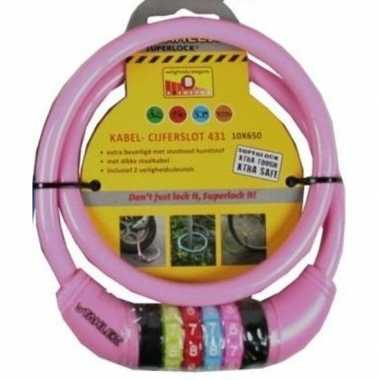 Cijfer kabelslot roze 10 x 650 mm prijs
