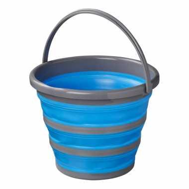 Compacte opvouwbare/inklapbare emmer blauw/grijs 10 liter camping/vis emmer prijs