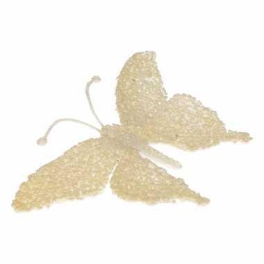 Creme deco vlinder met glitters 18 x 14 cm prijs