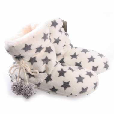 Creme witte sterren pantoffels/sloffen voor dames prijs